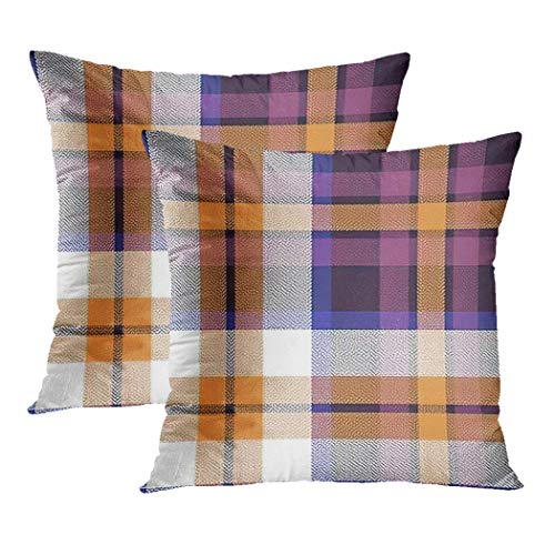 Y·JIANG Checkered Cushion Cover, Plaid in Purple Orange Pink White Herringbone Check Autumn Winter Soft Velvet Square Cushion Case Couch Cover Pillowcase for Sofa Chair Bedroom, 18 X 18 Inch, Set of 2