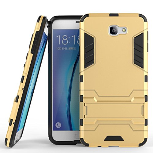Hülle für Samsung Galaxy J5 Prime / On5 2016 (5 Zoll) 2 in 1 Hybrid Dual Layer Shell Armor Schutzhülle mit Standfunktion Hülle (Gold)
