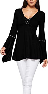 Women's Blouse Pleated Front Autumn Flare Sleeve Lace Up Shirt Casual Slim V-Neck Top