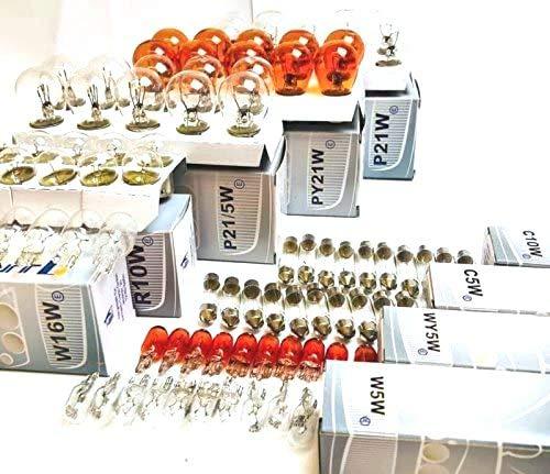 90x Stück AUTOLAMPEN 10x P21/5W + 10x P21W + 10x PY21W + 10x R10W + 10x W16W + 10x W5W + 10x WY5W + 10x C5W + 10x C10W 12V Beleuchtung Glühlampe Glassockel Glühbirne Soffitte E-Prüfzeichen. INION