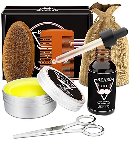 Beard Grooming Kit for Men - Beard Growth Kit with Beard Oil, Beard Balm, Beard Brush, Beard Comb, Beard Scissor, Beard Care Kit, Fathers Day Gifts for Men Dad Him Boyfriend Husband Brother