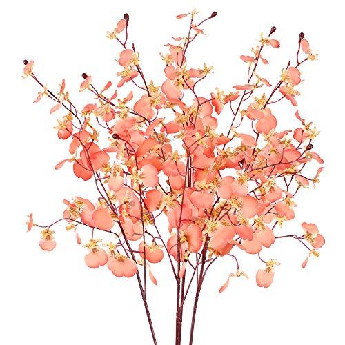 XHXSTORE 3 Pcs Kunstpflanzen Blumen Künstliche Orchidee Kunstblumen Deko Seidenblumen Rosa Plastikblumen für Tischdeko Hochzeit Party Fest Zuhause Balkon Garten Büro Vase 4 Gabelzweig