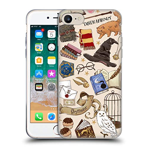 Head Case Designs Officially Licensed Harry Potter Hogwarts Pattern Deathly Hallows XXXVII Soft Gel Case Compatible with Apple iPhone 7 / iPhone 8 / iPhone SE 2020