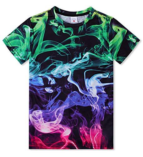 Idgreatim Cool Tees Kurzarm Graphic 3D Print Bunte Rauch T-Shirts für Youg Jugend Jungen Mädchen L