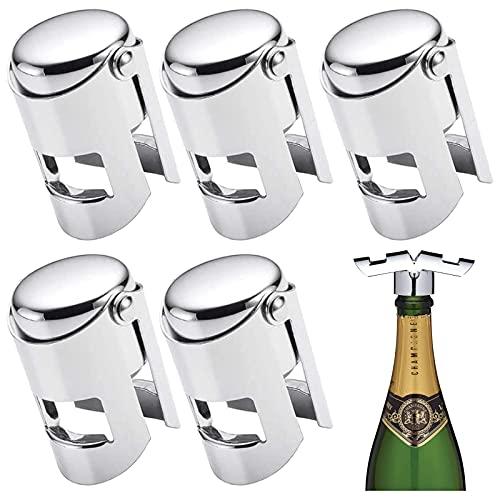 Tappo per Spumante Sigillante per Bottiglie per Cava Champagne Tappo Vino in Acciaio Tappo per Bottiglie di Spumante Champagne Tappo Vino Acciaio Inox per Bottiglie di Vino Frizzante (5 Pezzi)