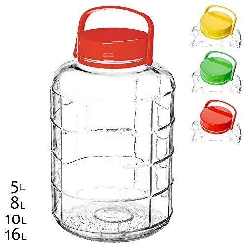 KADAX Gurkenglas mit Deckel, Einmachglas, luftdichte Konservierung, Glasballon, universelles Glas, Vorratsglas für Gurken, Aufbewahrung, Aufbewahrungsglas, Einweckglas (10L)