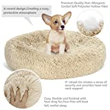 Nova Microdermabrasion Donut Dog Bed Calming Ultra Soft Shag Faux Fur Dog Bed Comfortable Donut Cuddler for Medium Small Dogs and Cats,Self-Warming and Washable (23 Inch, Beige)