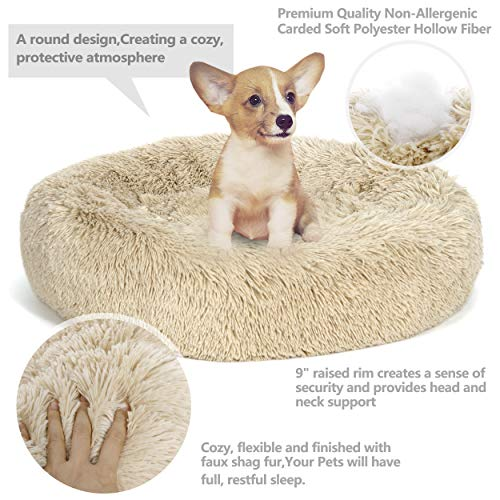 Nova Microdermabrasion Calming Ultra Soft Shag Faux Fur Dog Bed Comfortable Donut Cuddler for Medium Small Dogs and Cats,Self-Warming and Washable (23 Inch, Beige)