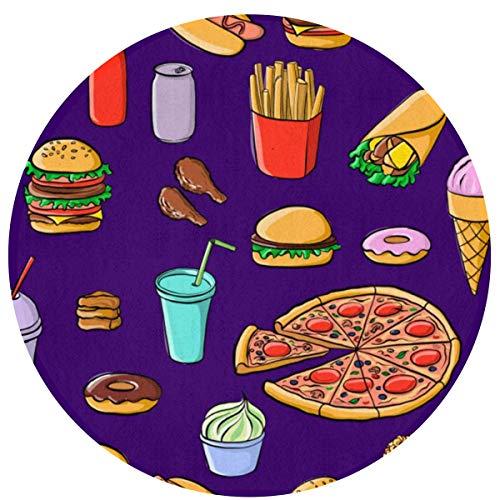 W-WEE Fastfood Pizza Burger Cómodo Cojines Antideslizantes Alfombra Redonda Alfombra Redonda Alfombrilla Linda Alfombra de baño Redonda 60cm