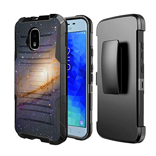 Moriko Case Compatible with Galaxy J3 TOP [Drop Protection Shockproof Defender Kickstand Holster Belt Clip Black Case Cover] for Samsung J3 (2018) J3 Orbit J3 Achieve (Space Milkyway)