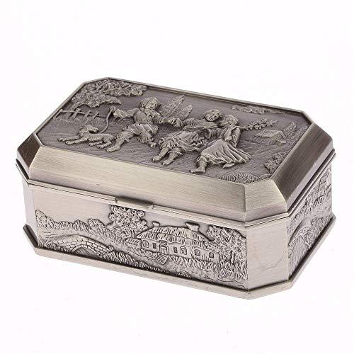 QULONG Exhibición de joyería Vitrina Caja de joyería Vintage Tipo Europeo Creativo Restauración de Formas Antiguas Cajas de joyería de Metal Exquisita Caja de decoración del hogar de Alta Gama Tall