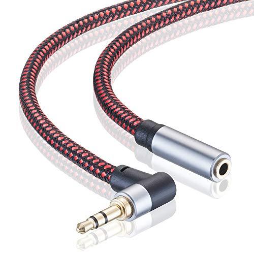 Audio-Verlängerungskabel, 12 m, rechtwinklig, 3,5 mm Stecker auf Buchse, Audio-Stereo-Kabel mit versilbertem Kupfer, kompatibel mit iPhones, Tablets, Sony Beats, PS4 Headset (12 m)