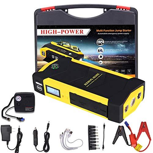 TAOSE Arrancador de Coches con USB LED 82800mAh 800A Arrancador de Baterias de Coche para 6.0L de Gasolina o 5L de Diesel de IP66 Impermeable Emergencias con Bomba de AireYellow