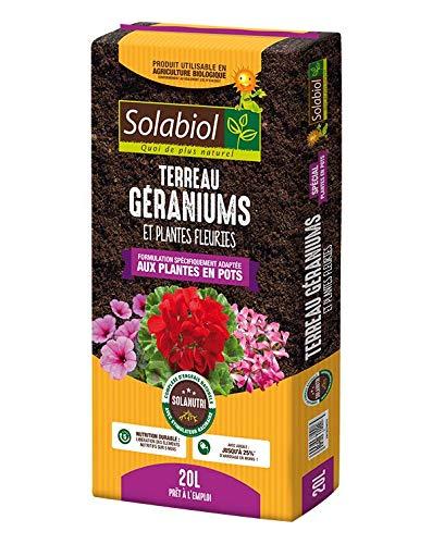 Solabiol TERREAU Geraniums ET Plantes Fleuries 20 litres TERGER20