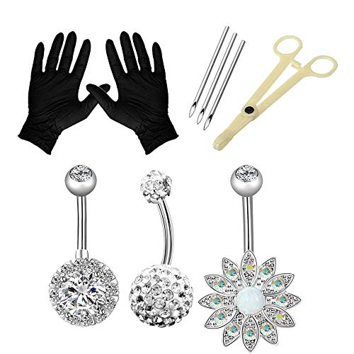 Anghie Piercing Kit - 13PCS Professional Belly Piercing Kit 316L Stainless Steel 14G Belly Navel Rings Body Piercing Set for Navel Piercing Kit, Piercing Tool and Piercing Supplies