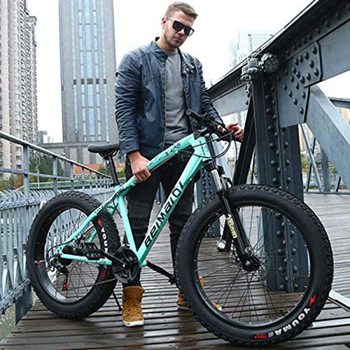Domrx Mountainbike Beach Bike 4.0 Super breite Reifen 20/24/26 Zoll Geschwindigkeit Offroad-Fahrräder Männliche und weibliche Studenten Adult-Bianchi Green_24 Zoll 24 Geschwindigkeit