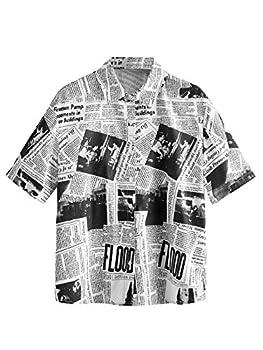 WDIRARA Women s Newspaper Print Button Front Short Sleeve Collar Blouse Shirt Black and White S