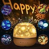 SANBLOGAN Lampara Infantil Proyector, Proyector Estrellas Bebé USB Luz Nocturna Recargable Proyector Estrella Giratorio Luz Nocturna con 6 Películas Proyección, Regalo de Fiesta de Cumpleaños de Niña