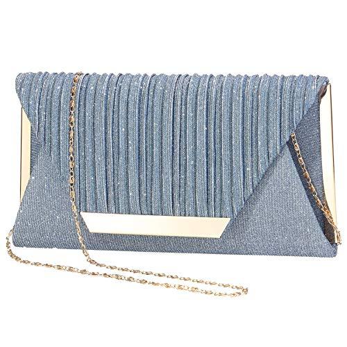 LIGUL Abend Taschen Damen,Gold Donna Clutch,Borsa Donna Elegante,Silber Abend Tasche für Frauen Shining Abend Handtasche für Damen Donna (S, A-Blau)