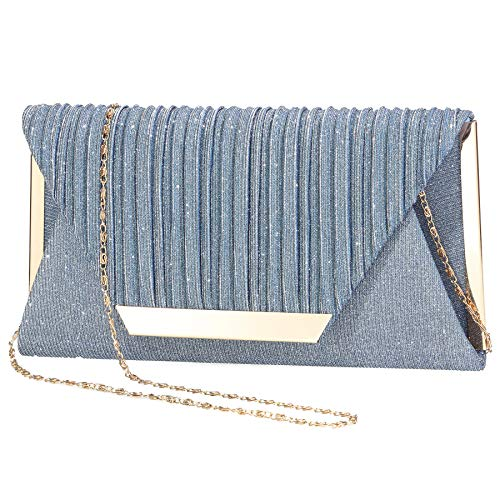 LIGUL Abend Taschen Damen,Gold Donna Clutch,Borsa Donna Elegante,Silber Abend Tasche für Frauen Shining Abend Handtasche für Damen (A-Blau)