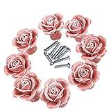 Manijas Perillas, elegante rosa rosa Tira de flor de cerámica Perillas de gabinete Armario Cajón Manijas de tracción + Tornillo Manija de muebles perilla ornamento (8 piezas)