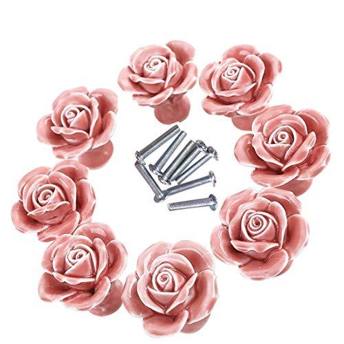Knöpfe, 8Elegant Weiß/Pink Rose zieht Blumen Keramik Schrank Knöpfe Schrank Schublade Pull Griffe + Schraube rose