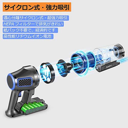 iwolyコードレス掃除機サイクロン強力吸引軽量静音充電式HEPAフィルタースティックハンディクリーナー