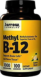 Jarrow Formulas Methylcobalamin (Methyl B12), Supports Brain Cells and Nerve Tissue, 1000 mcg, 100 Lozenges (2 Pack)