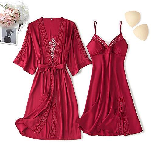 Pijama MujerSet de Dos Piezas de túnica de Pijamas Sexy-Vino Rojo_LLargos Casual Ropa de Casa