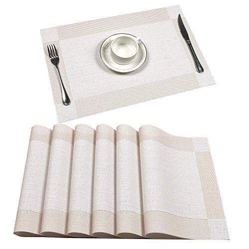 U'Artlines 6er Set Platzsets Hitzebeständigen Waschbaren Vinyl Tischsets 30 * 45cm(6er Platzsets, Creme Weiß)