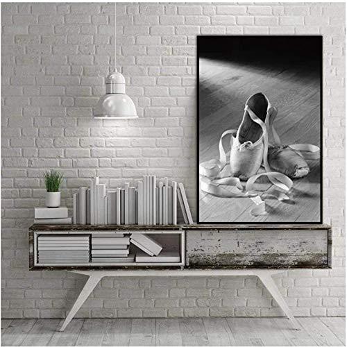 Lienzo Obra de arte Pintura 40x60cm Sin marco Zapato de punta Zapatillas de ballet Cartel de arte de pared e impresiones Pintura Cuadros de pared para la decoración de la sala de estar del hogar