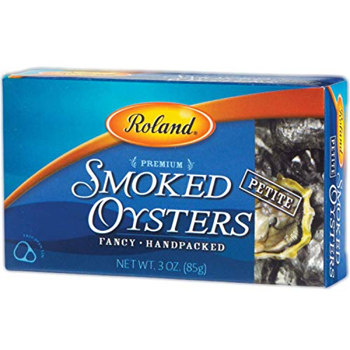 Roland Foods Premium Smoked Petite Oysters in Oil, Wild Caught, 3 Oz Tin (pack of 10)