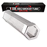TIZZE Pellet Smoker Tube 12' PerforatedBBQ Smoke Generator to Add Smoke Flavor to All Grilled Foods