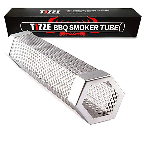 "TIZZE Pellet Smoker Tube 12"" Perforated BBQ Smoke Generator to Add Smoke Flavor to All Grilled Foods"