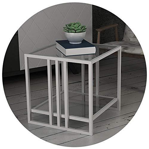Home&Selected gefineerd/gehard glas nachtkastje, opbergkastje, voor woonkamer, ruimte, sofa, tafel, 2 boeken, krantenrek, kamer, hoektafel (kleur: goud) Wit
