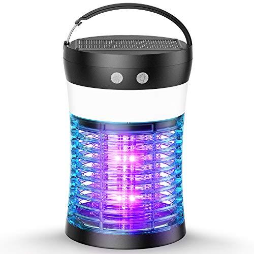 Zenoplige Zanzariera Elettrica USB Ricaricabile, 4W Impermeabile UV Lampada antizanzare, Trappola Zanzare con Solare/USB Ricaricabile e Luce LED, Adatto per Interno e Esterno