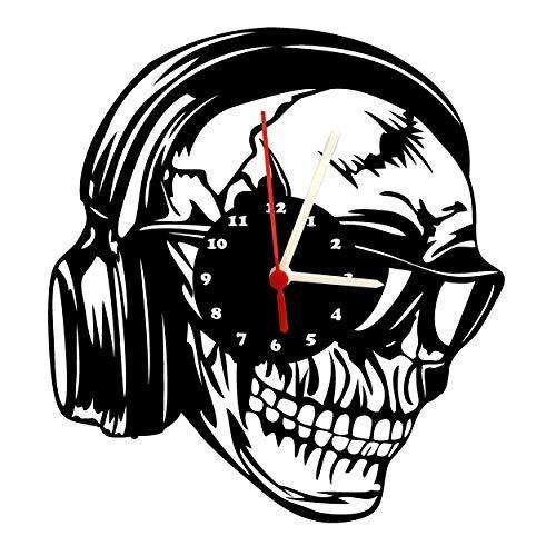 Wanduhr, Totenkopf mit Kopfhörer, Design Schallplattenuhr mit Quarzwerk & Ziffernblatt