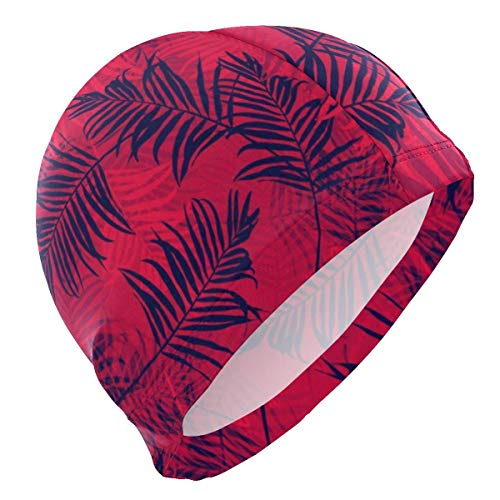 Gorra de natación, Tropical Palm Leave Swim Cap Superior Polyester Cloth Fabric Bathing Cap Water Resistant & Durable Swimming Hat for Water Sports