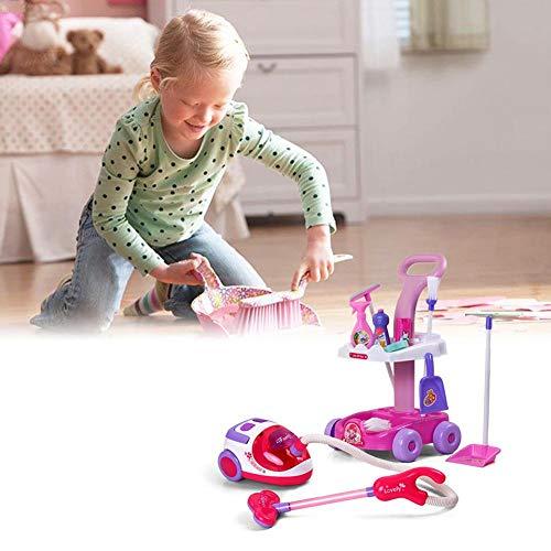 Juguete de limpieza para bebés, herramientas Playset escobillas para niños, con aspirador eléctrico, carrito de limpieza para niños