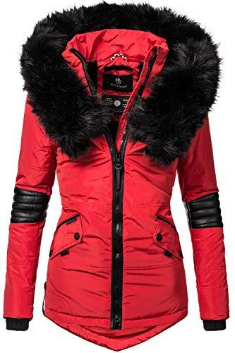 Navahoo Nirvana Giacca Invernale da Donna con Cappuccio in Pelliccia Sintetica Nera Rosso XS
