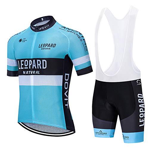 MTBHW Herren Radtrikot Set Kurzarm mit Sitzpolster für Rennrad Fahrrad Jersey + Bib Kurze Hose Radsportanzug