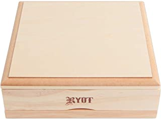RYOT 7x7 Solid Top Screen Box in Natural   Wide Wooden Box Perfect for Sifter - Monofilament Mesh Screen - Glass Base Tray...