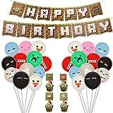 Herefun 71 Pcs Video Game Partyzubehör, Spielliebhaber Geburtstag Dekoration, Miner Gamer Thema Party Dekoration mit Luftballons, Happy Birthday Banner für Kinder Jungen Geburtstagsfeier Spiel