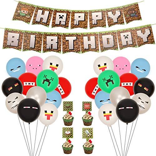 Herefun 71 PCS Video Game Partyzubehör, Spielliebhaber Geburtstag Dekoration, Miner Gamer Thema Party Dekoration mit Luftballons, Happy Birthday Banner für Kinder Jungen Geburtstagsfeier Spiel (A)