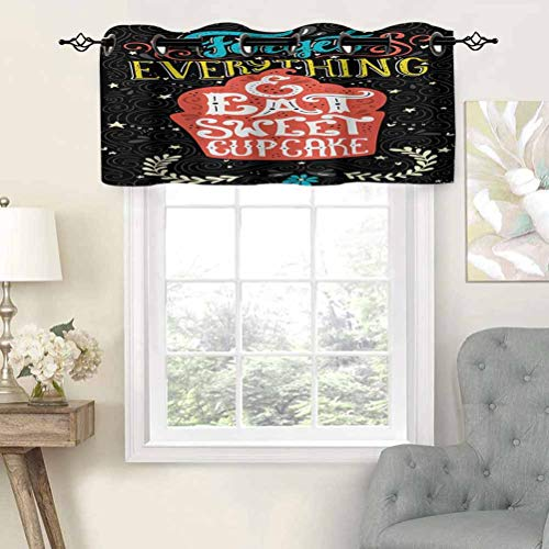 Hiiiman Small Window Valance Curtains Home Decor Forget Everything and Eat Sweet Cupcake Phrase with Doodle Floral Ornaments Print, Set of 1, 54'x18' for Kitchen Dining Girls Room Light Filtering