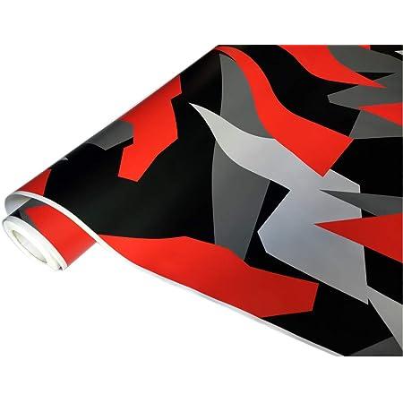 Folimac 8 50 M Camouflage Autofolie Selbstklebend Mit Luftkanäle Schwarz Weiß Grau Rot 33 200cm X 152cm Auto