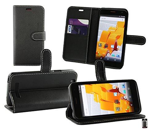 Emartbuy® Wileyfox Spark Plus/Wileyfox Spark Wallet Etui Hülle Hülle Cover aus PU Leder mit Kreditkartenfächern - Schwarz (Weiß Stitching)