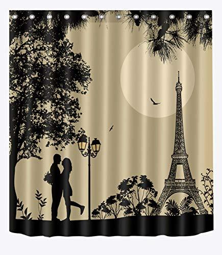 FGHJK Amantes parisinos Cortina de Ducha Impermeable baño d