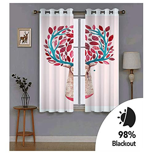 KnBoB Light Pink Red Deer Trees Curtains Polyester Blackout Curtains Panels for Bedroom Size 264x214CM