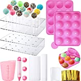 Cake Pop Maker Set, 12-Hole Silicone Cake Pop Mold with Lollipop Sticks and 15-Hole Acrylic Lollipop Holder,...